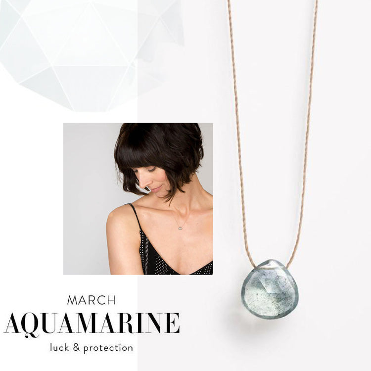 Wanderlust Life March Birthstone Aquamarine Necklace