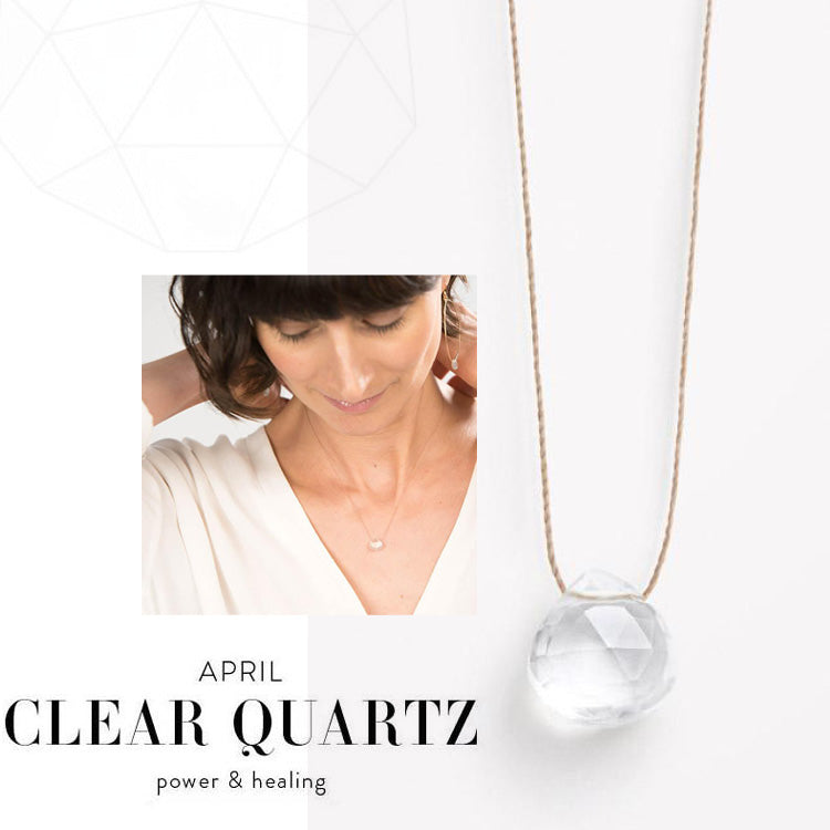 Wanderlust Life April Birth Stone Clear Quartz Necklace