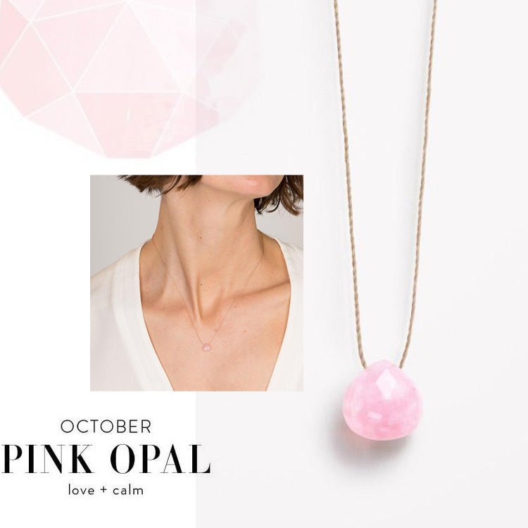 Wanderlust Life October Birthstone Pink Opal Necklace