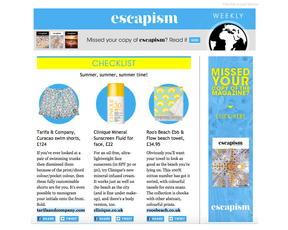 Escapism E-Newsletter Featuring Roo's Beach
