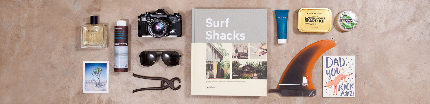 Father's Day gifts featuring Surf Shacks from Gestalten and Men's Society beard kit