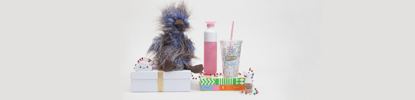 Christmas gift ideas for kids featuring Dopper drinking bottles and Jellycat soft toys available from Roo's Beach