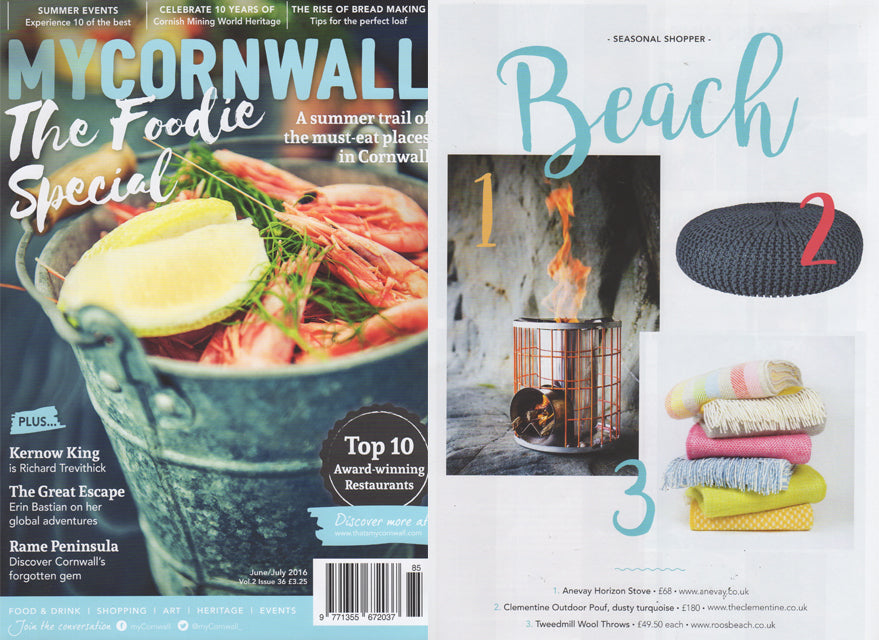 My Cornwall Magazine June / July featuring Roo's Beach woolen throws