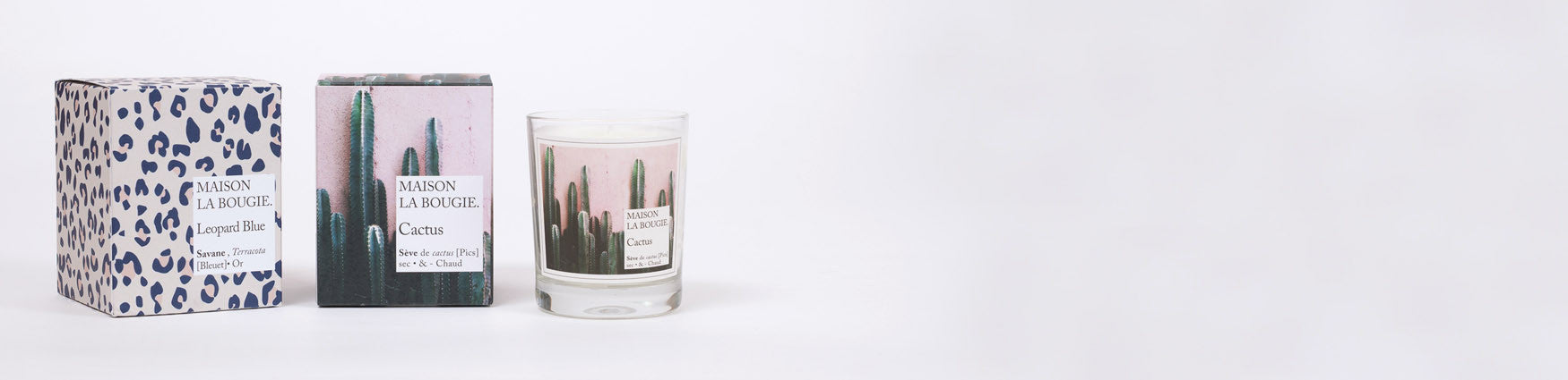 Maison La Bougie Candles in colourful packaging available from Roo's Beach UK