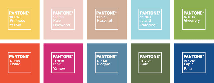 Pantone Colour Forecast swatches for 2017