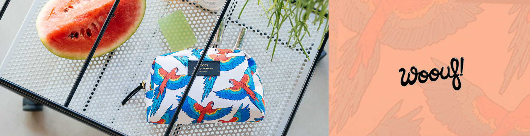 Shop the Woouf! Make-Up bag with a colourful Macaw print from Ro's Beach UK