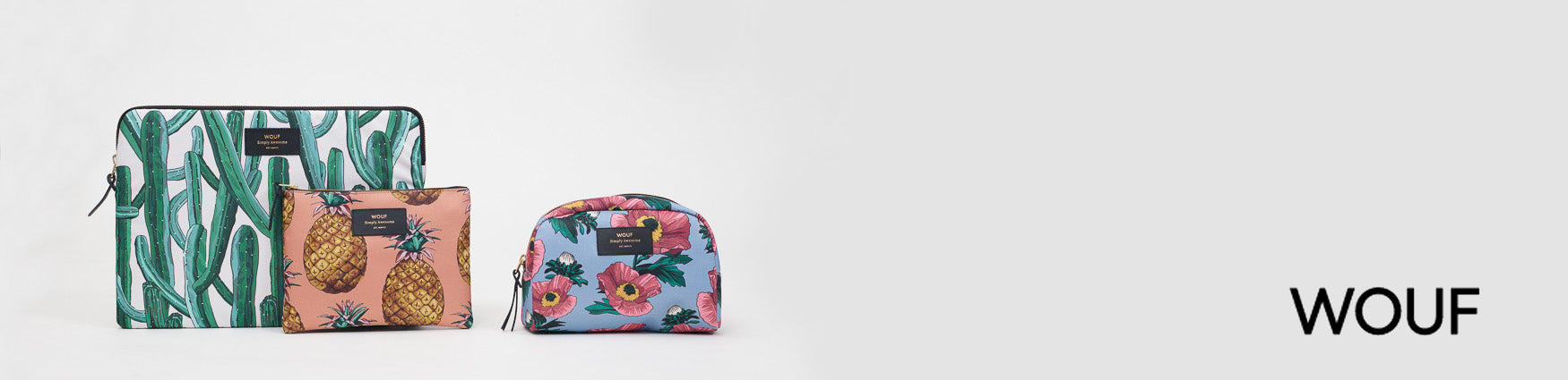 Shop colourful printed Wouf accessories from tech sleeves to beauty bags at Roo's Beach UK