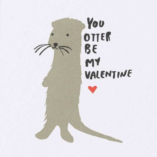 Egg Press You Otter Be My Valentine Greetings Card - close up