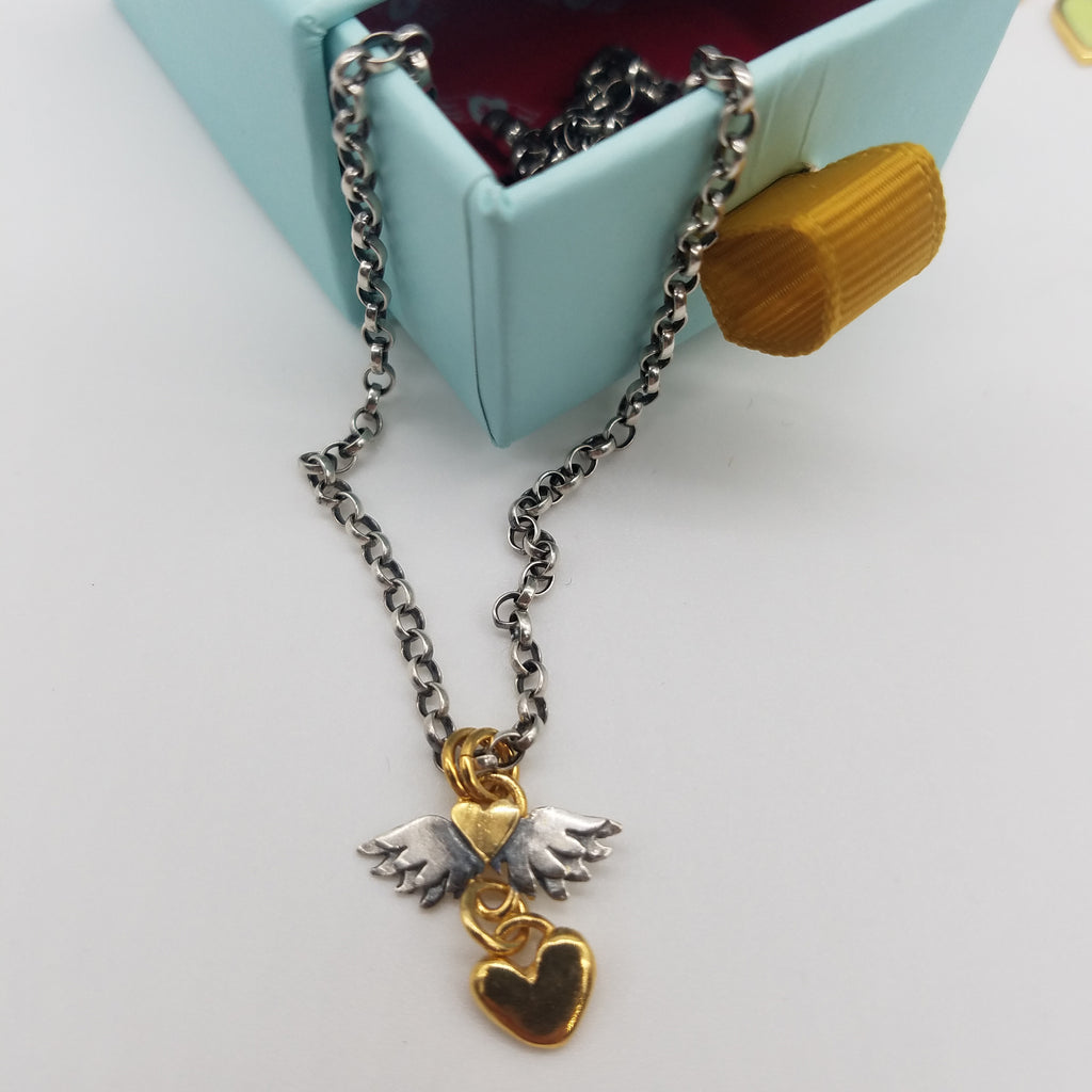 Sophie Harley Classic Winged Heart and Heart Drop Necklace