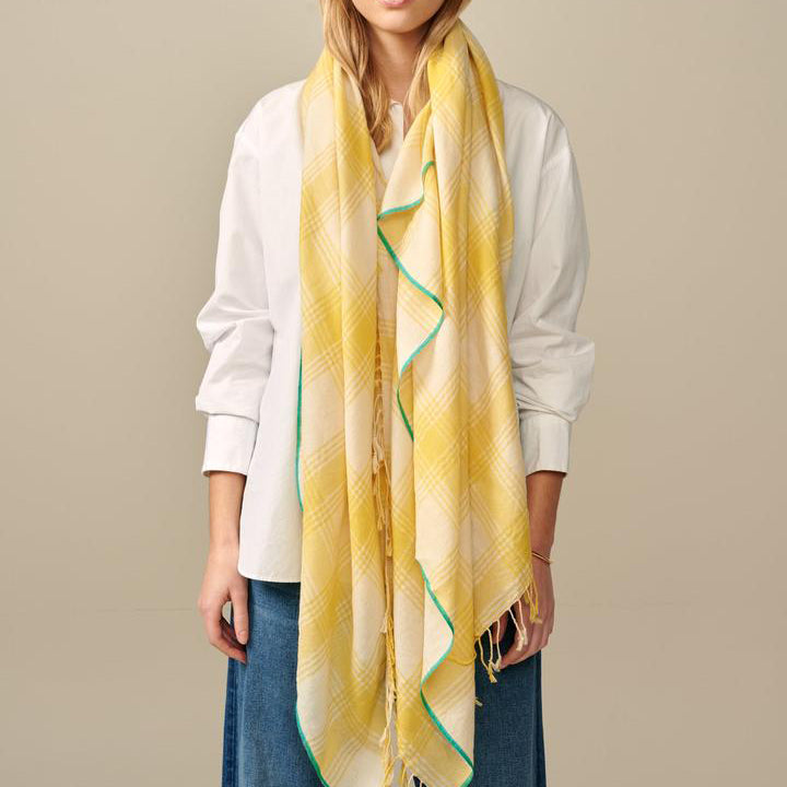 Bellerose Sedalia Yellow Check Scarf