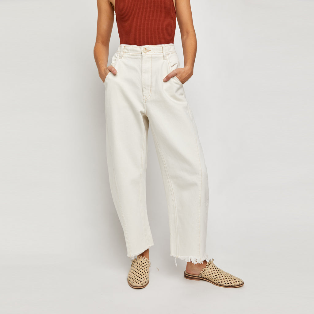 Free People Ecru Extreme Barrel Jeans