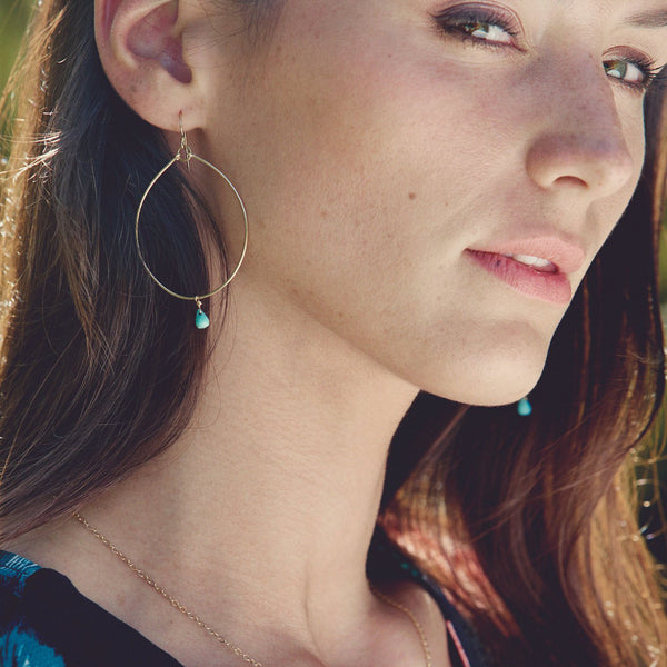 Wanderlust Life Turquoise Ana Large Hoop Earrings - close up on model