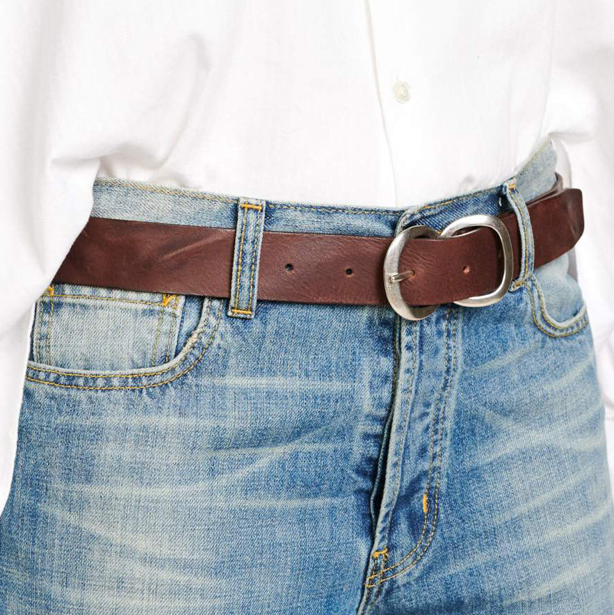 Bellerose Sabas Brown Leather Belt - side profile