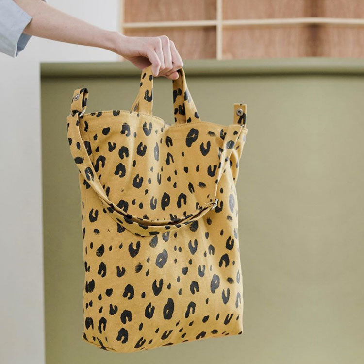 Lifestyle shot of Baggu Leopard Print Duck Bag