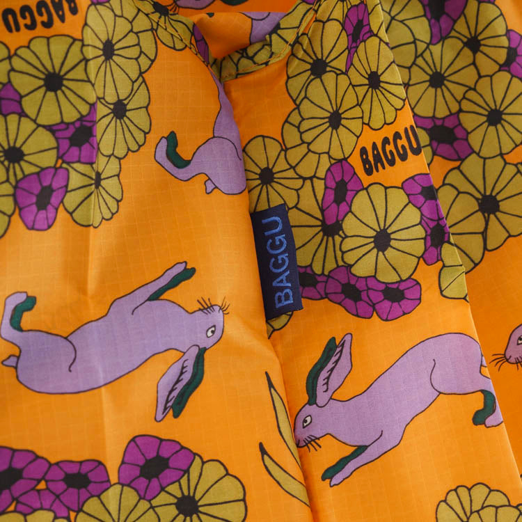 Baggu Wild Rabbit Standard Reusable Bag - detail shot of fabric