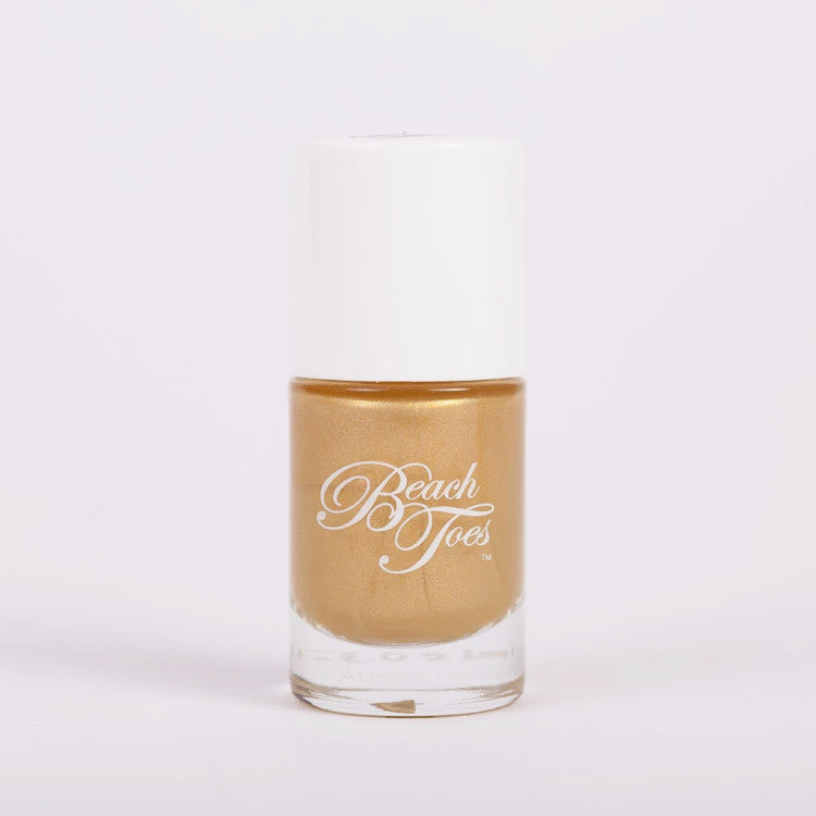 Beach Toes Heavy Metal Gold Metallic Nail Polish