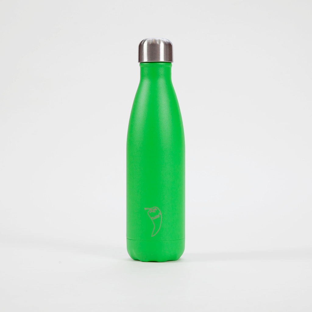 Product shot: Chilly's Bottle Neon Green Drinking Bottle 500ml