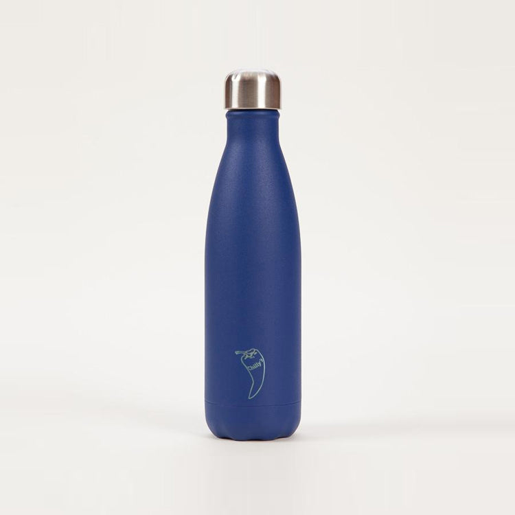 Product shot: Chilly's Matte Blue Drinking Bottle 500ml