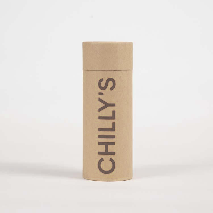 Packaging for a Chilly's Stainless Steel Drinking Bottle 260ml