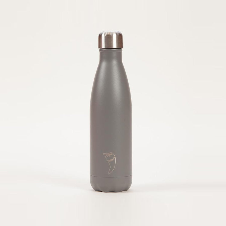 Product shot: Chilly's Monochrome Powder Grey Drinking Bottle 500ml