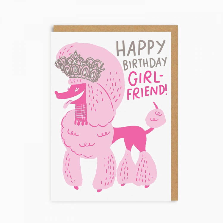 Hello! Lucky Girl Friend Poodle Greetings Card