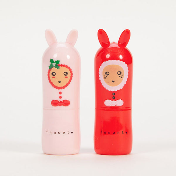 Product shot: INUWET Christmas Bunny Lip Balm Duo Set