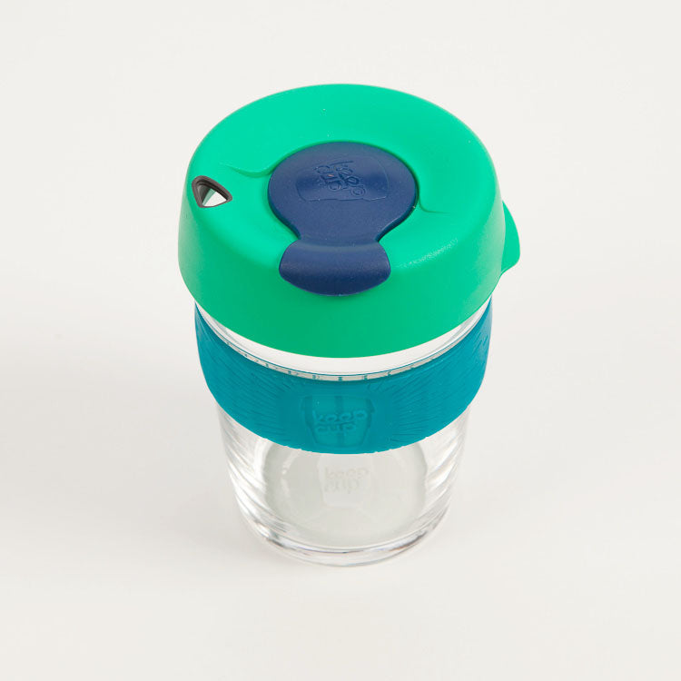 Product shot of KeepCup Brew Floret Glass Reusable 12oz / 340ml Cup