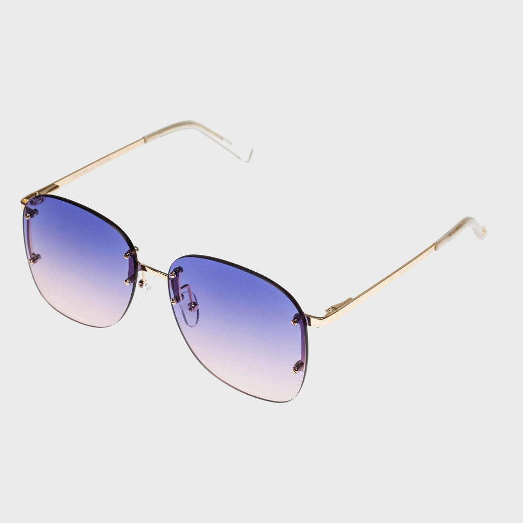 Le Specs Skyline Bright Gold Blue Sunglasses