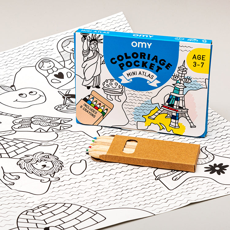 OMY Pocket Mini Atlas Colouring Set