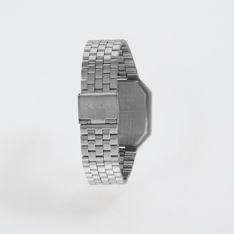 Product shot of the Nixon Re-Run Black Silver Watch
