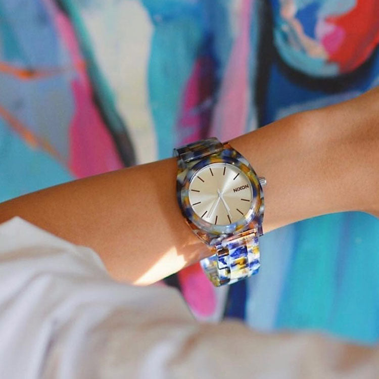 Lifestyle shot of the Nixon Watercolour Acetate Time Teller Watch