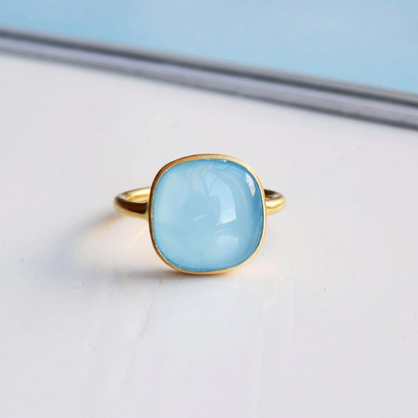 Product shot of the Pernille Corydon Chalcedony Blue Ring