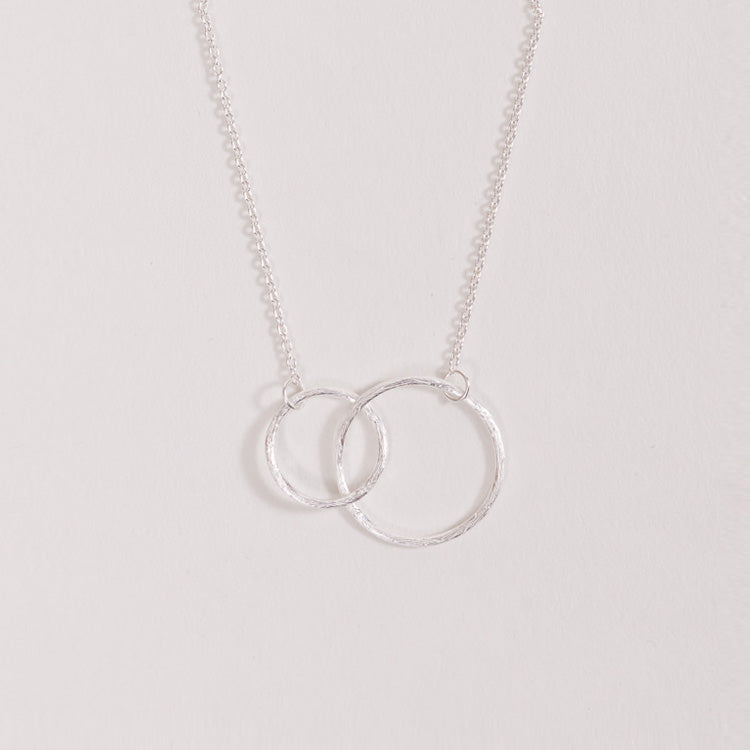 Product shot of the Pernille Corydon Double Circle Silver Necklace