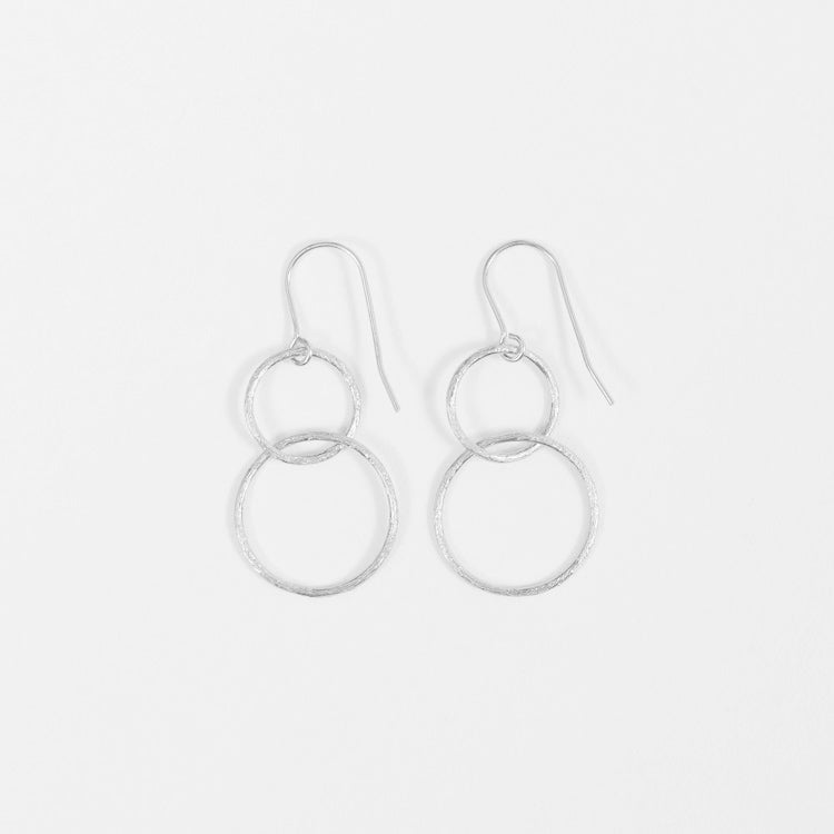 Product shot of the Pernille Corydon Double Circle Silver Hook Earrings