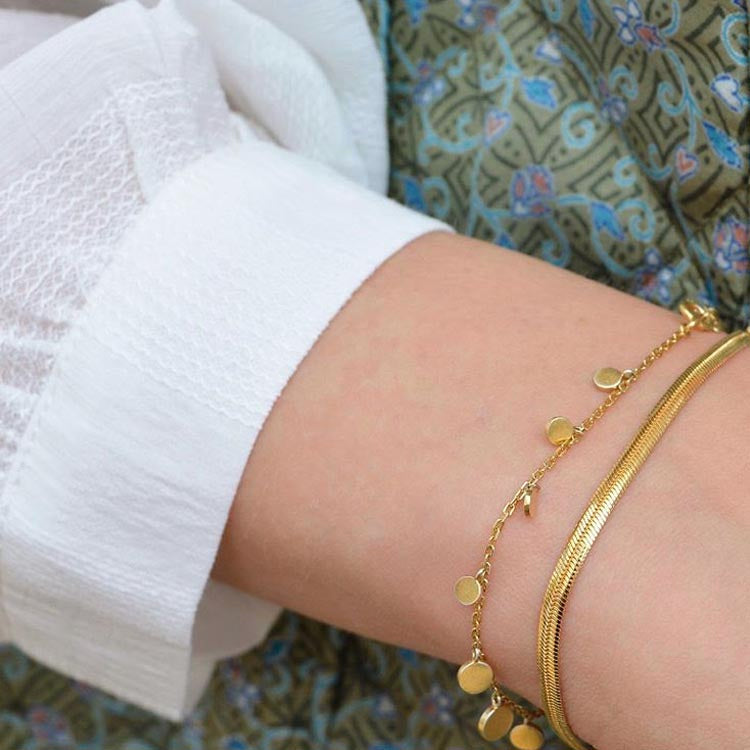 Model wearing the Pernille Corydon Gold Sheen Bracelet