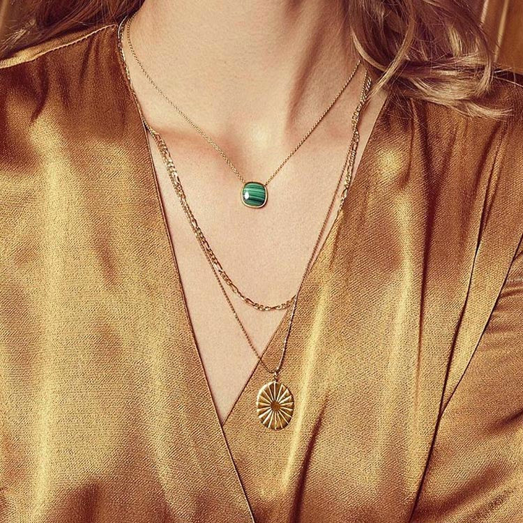 Model wearing the Pernille Corydon Malachite Gold Necklace