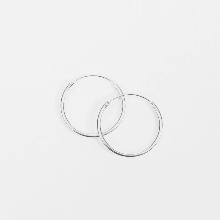 Pernille Corydon Silver Plain Micro Hoop Earrings 15mm