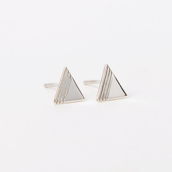 Rachel Jackson Silver Triangle Stud Earrings - Available from Roo's Beach UK