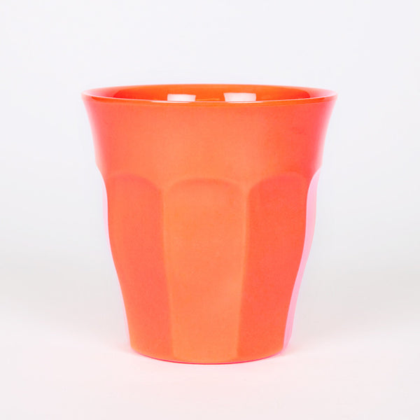 RICE Solid Neon Coral Melamine Cup - Available from Roo's Beach UK