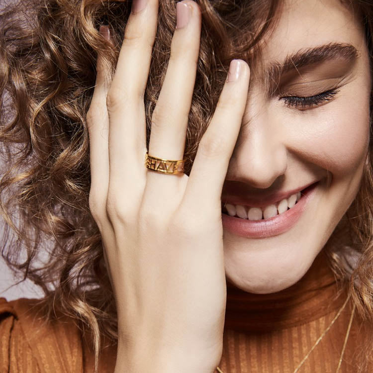 Model wearing the Rachel Jackson Rave Behave Gold Ring