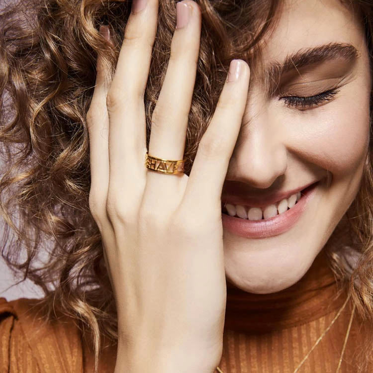 Model wearing a Rachel Jackson Rave Behave Ring