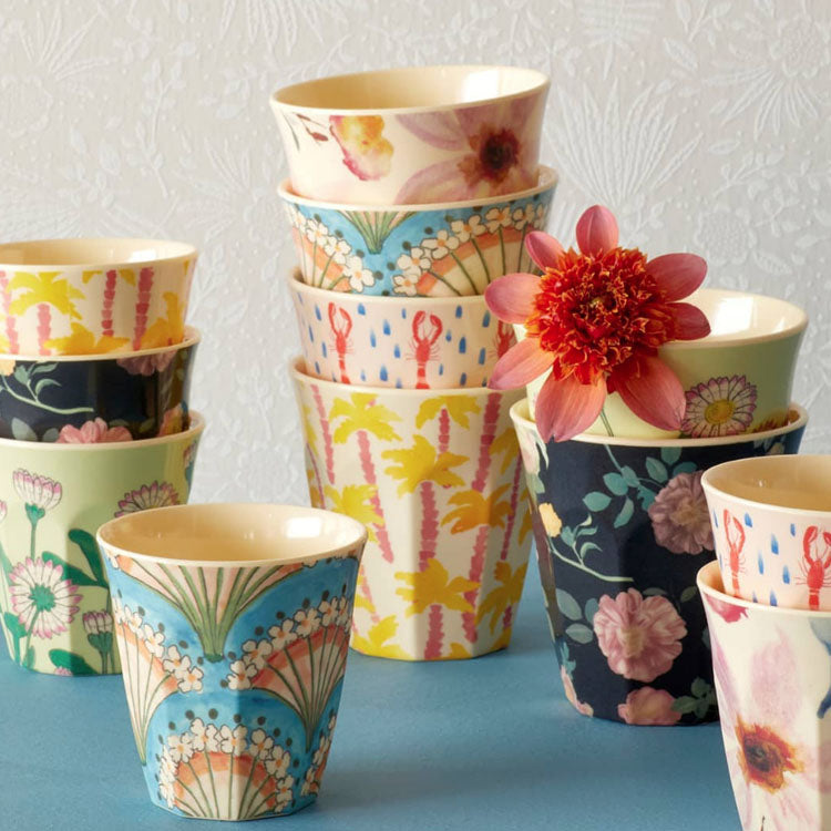 Colourful group of melamine rice cups from Danish brand Rice