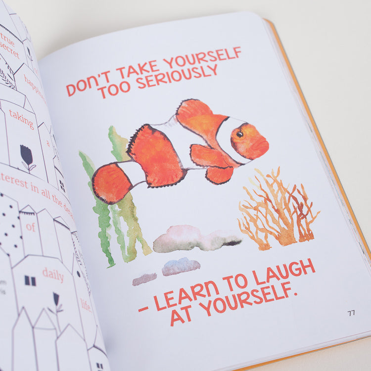 Product shot of one of the inner page of How To Be Happy book