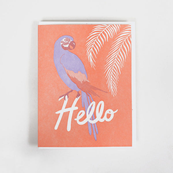 Product shot of the Lucky Horse Press Hello Tropical Bird Greeting Card