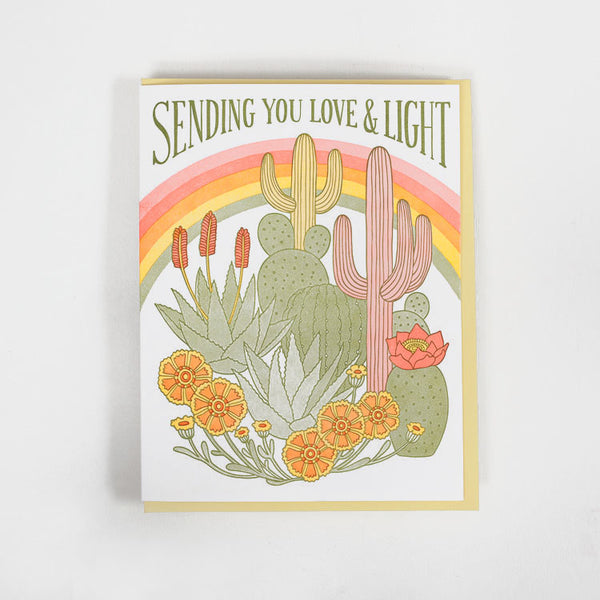 Product shot of the Lucky Horse Press Sending You Love & Light Greetings Card