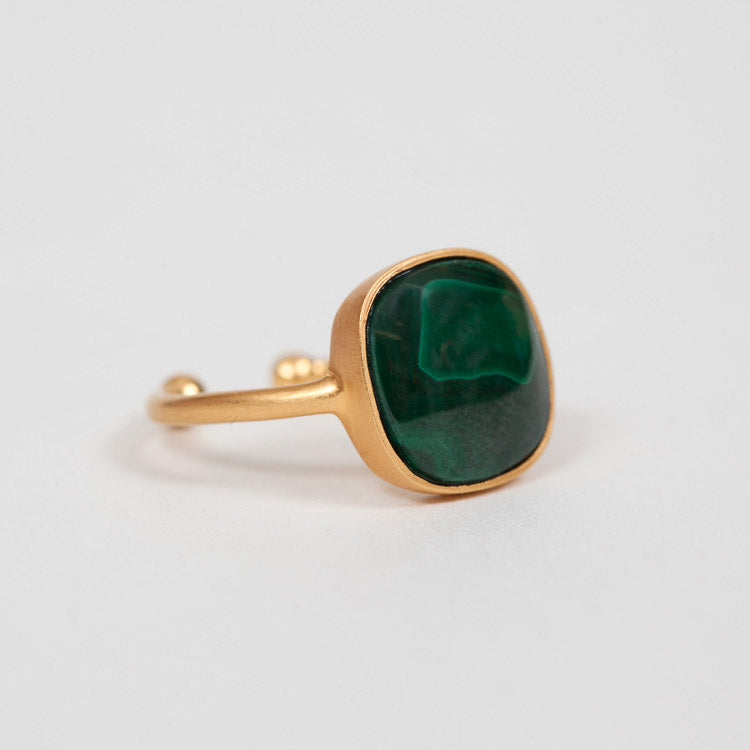Product shot of Pernille Corydon Malachite Adjustable Ring