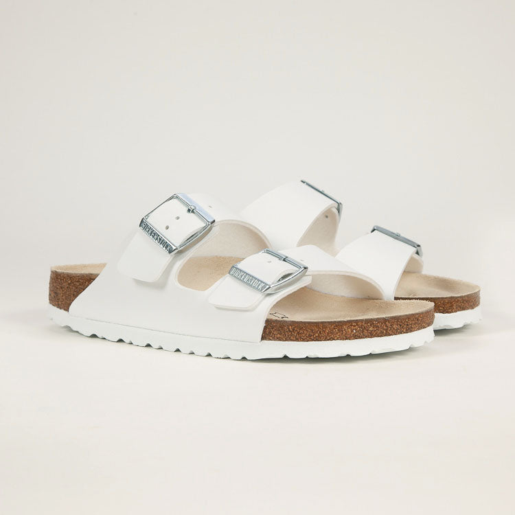 Product shot: Birkenstock Arizona White Narrow Sandals