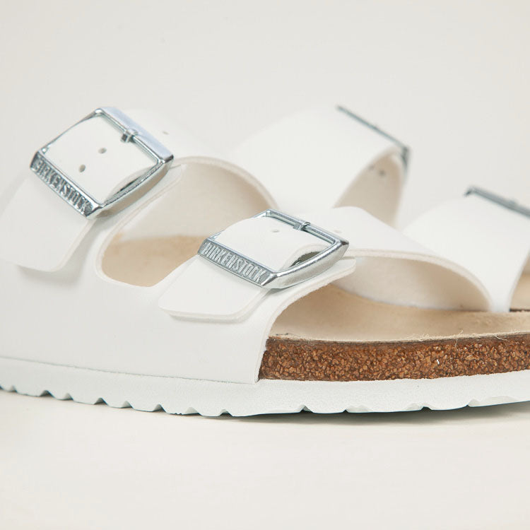 Product shot: Birkenstock Arizona White Narrow Sandals - Detail buckle shot