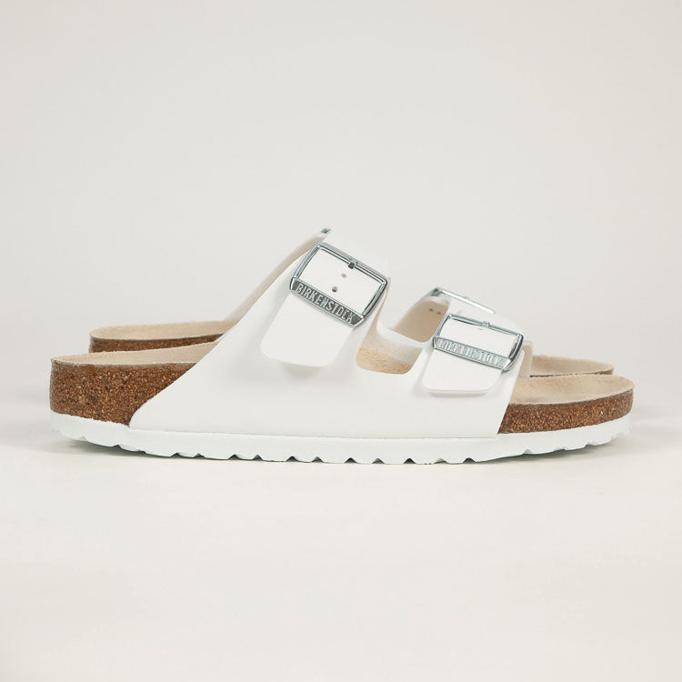Product shot: Birkenstock Arizona White Narrow Sandals - profile shot