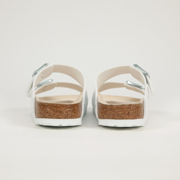 Product shot: Birkenstock Arizona White Narrow Sandals - shot from bedind